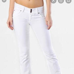 Hudson white cuffed ripped jeans